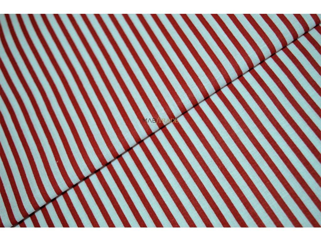 PLÁTNO 100% Ba Červené pruhy na bílé Kód 1031-8800-02