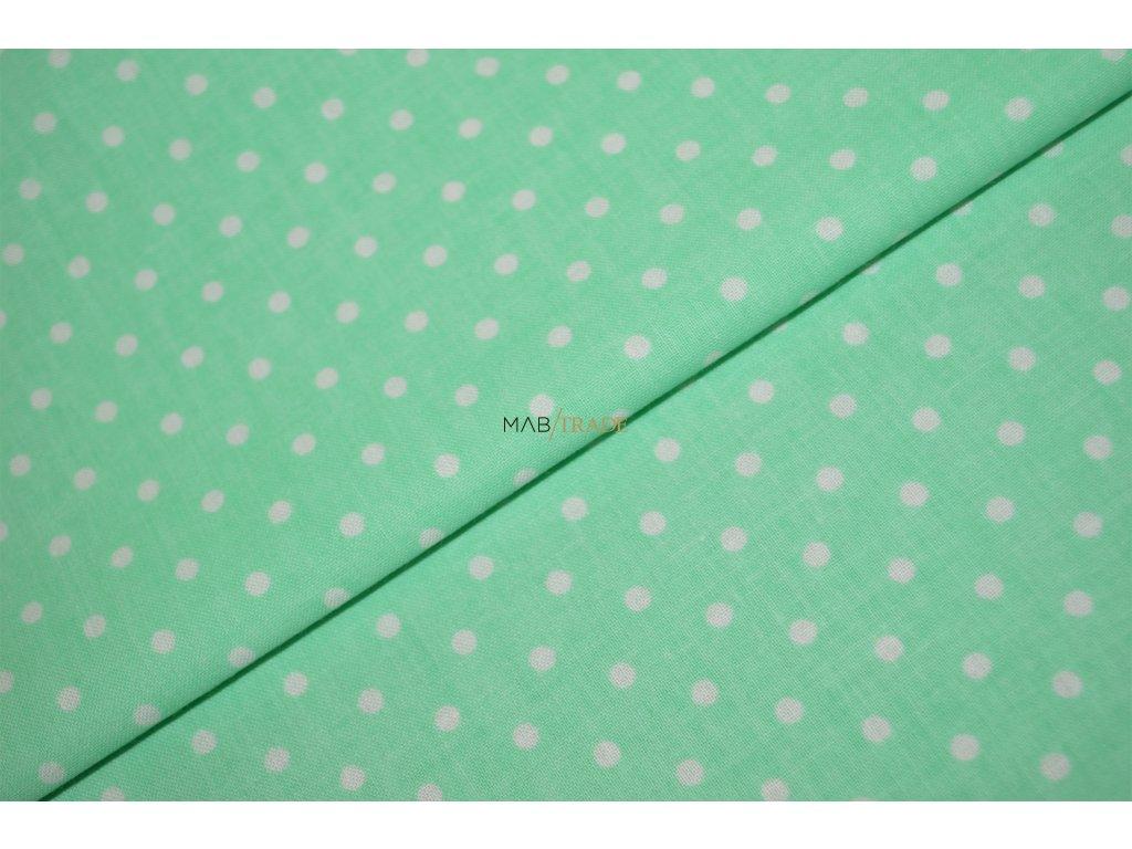 PLÁTNO 100% Ba Bílý puntík na zelené Kód 1031-105