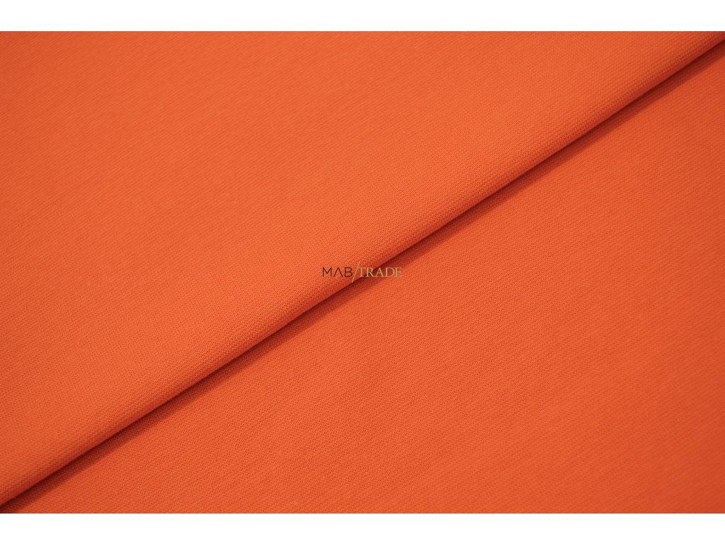 Bavlněný úplet - RIB 1x1 hladký Oranžový Kód 6201-06112