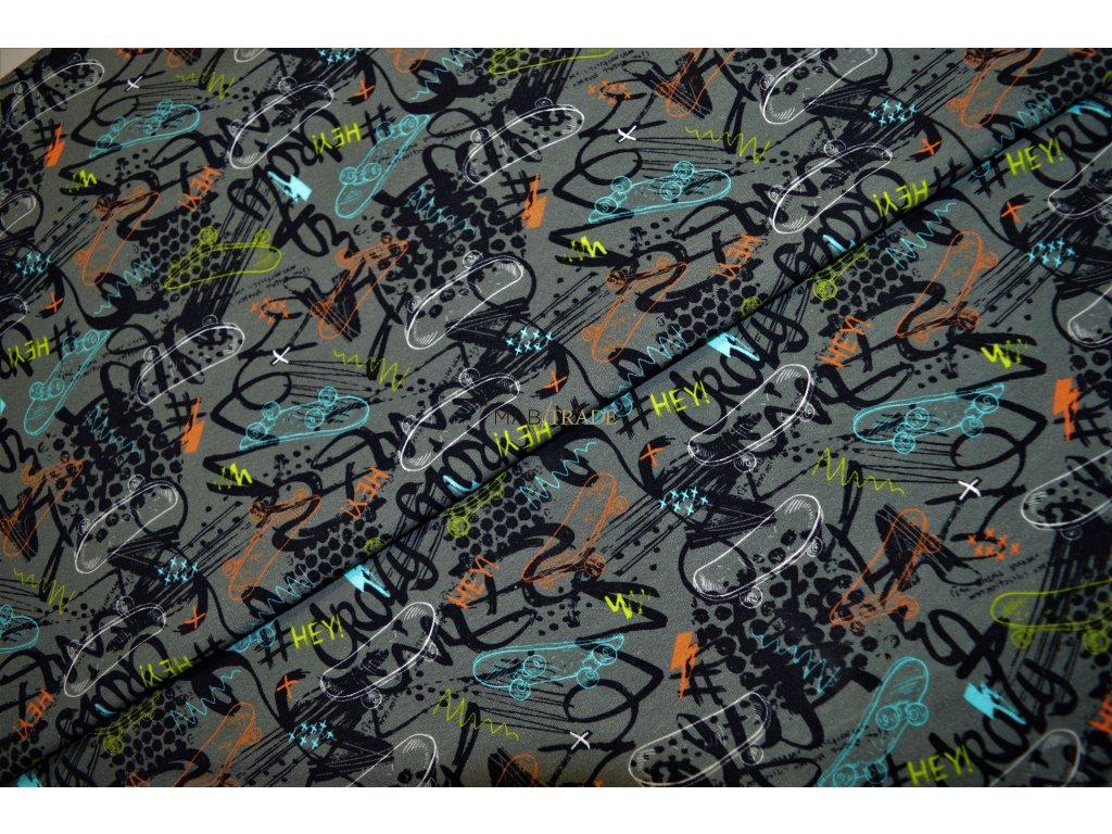Elastická teplákovina  Digi tisk Skateboardy Kód 4842-1035