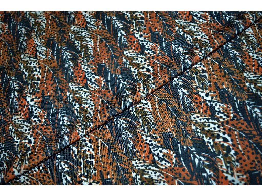 Jednolícní úplet Pes/El digi tisk barevné Peří Kód 5908-1005