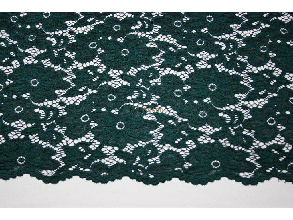 KR 17179 elast.krajka lahvově zelená š.140cm,150g m2,25%VS,72%Pes,3%Spand