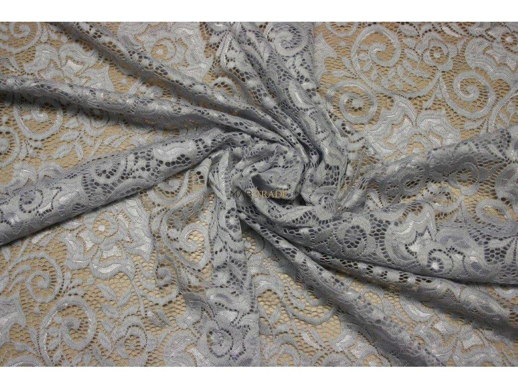 KR 17042 č.1 elast. krajka sv.šedá š.150cm,150g m2,24%VS,70%Pes,6%Spand