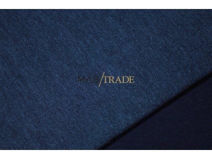 Teplákovina bavlna/polyester počesaná Navy melír  Kód 4220-51005
