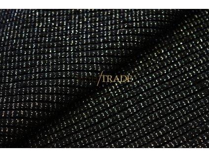 Bavlněný úplet -  hrubý s Lurexem černý  3x3 95%Ba 5%El Kód 6229-4002