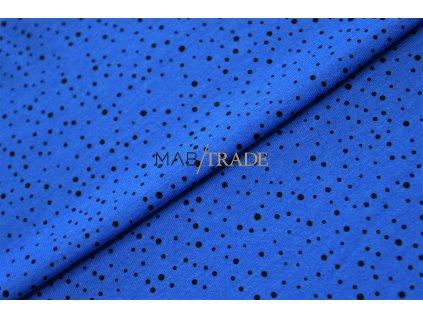 Bavlněný úplet - elastický jednolícní Modal   Černý puntík na Modré Kód 2502-1033
