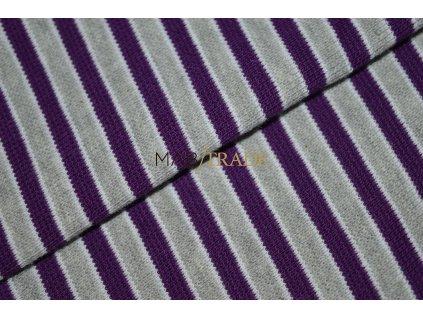Bavlněný úplet - RIB 1x1 hladký Šedo Fialový pruh Kód 6202-0020/R