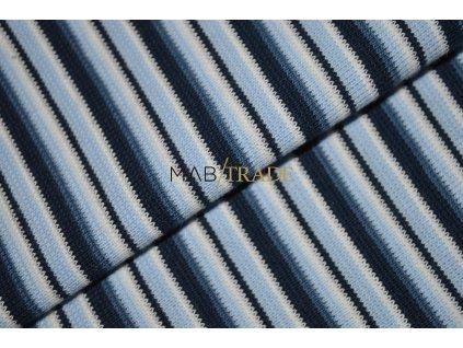 Bavlněný úplet - RIB 1x1 hladký Modré odstíny pruh Kód 6202-0004/R
