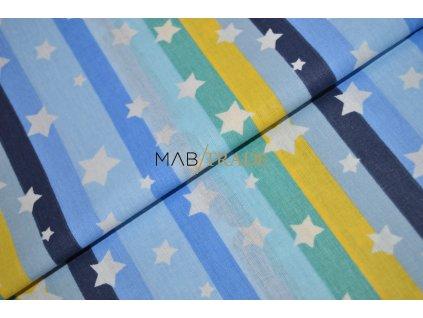 PLÁTNO 100% Ba Hvězdy na modro žlutých pruzích Kód 1031-522/T