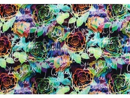 Teplákovina elast. Digi tisk Barevné květy a písmo Kód 4842-1014