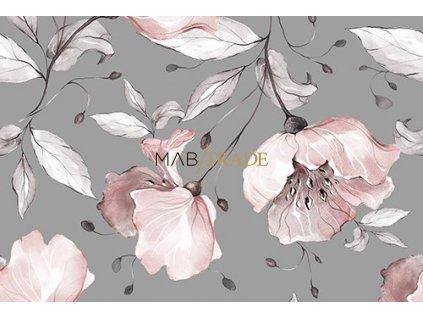 Teplákovina Viskózová elast. Digi tisk Květy na šedé Kód 4829-1000