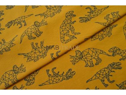 Elastická teplákovina Hořčice tisk Dino origami Kód 4840-0545