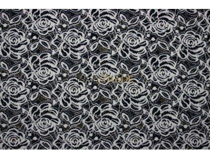 KR 16029č.3krajka černobílá š.140cm,180g m2,24%VS,60%Pes,12%Nylon,4%Elast