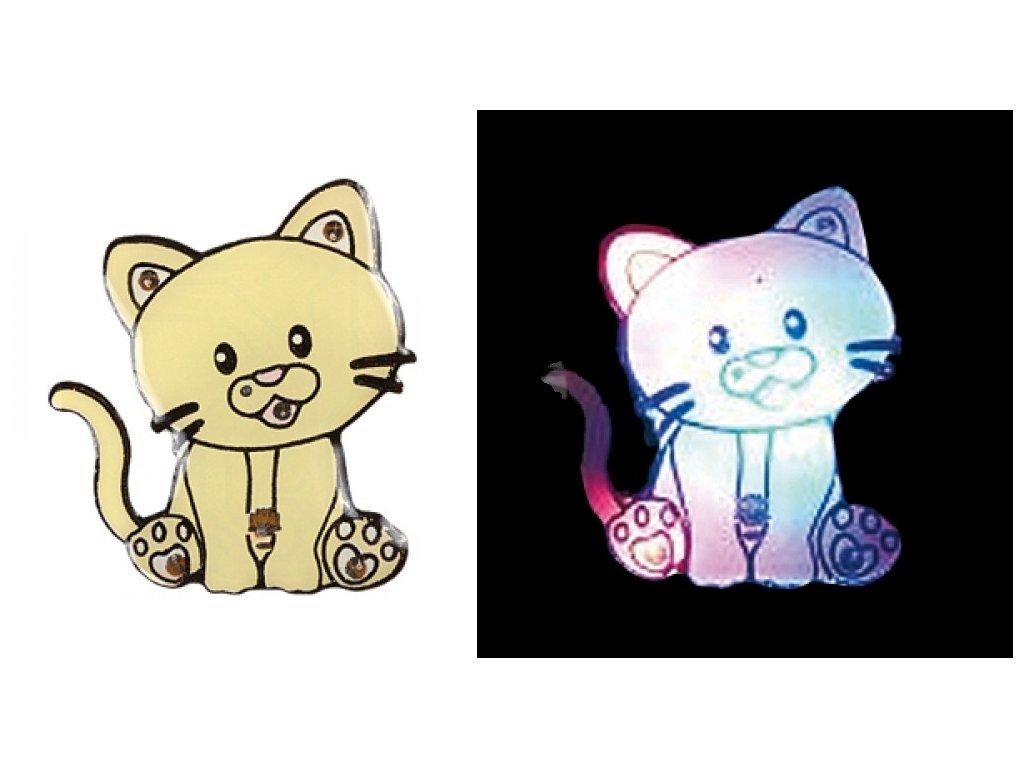 svítící brož špendlík kočka s kočkou kočičí kotě