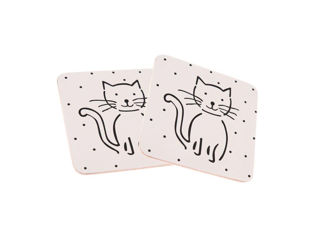podtácek podtácky korkový kočka s kočkou kočičí sada 2 ks