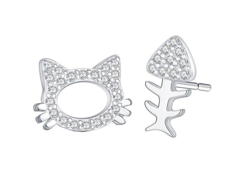 náušnice kočka rybka asymetrické krystaly s kočkou