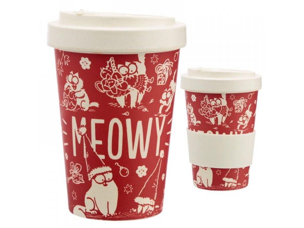 vánoční simons cat kelímek cestovní bambusový kočka s kočkou kočičí
