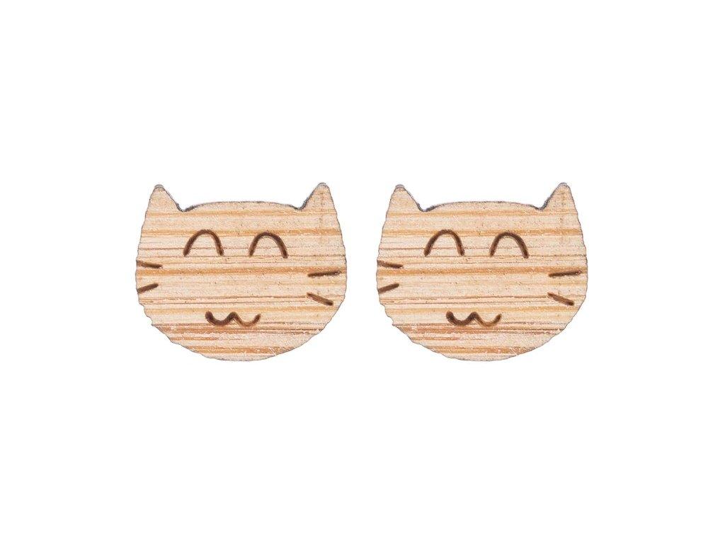 náušnice kočka dřevěné