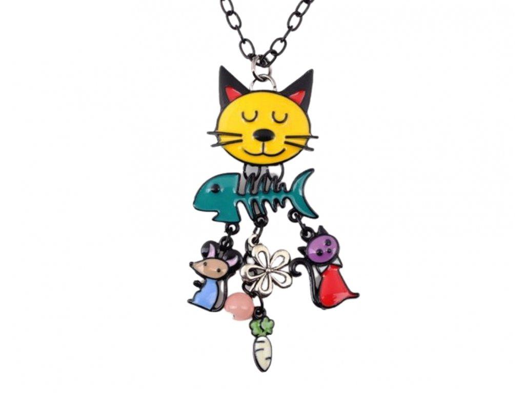 náhrdelník kočka s kočkou kočičí email smalt 2