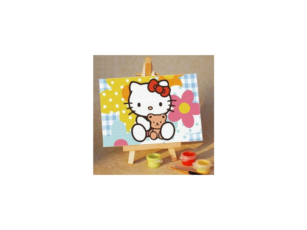 malování podle čísel hello kitty kočka kotě 2