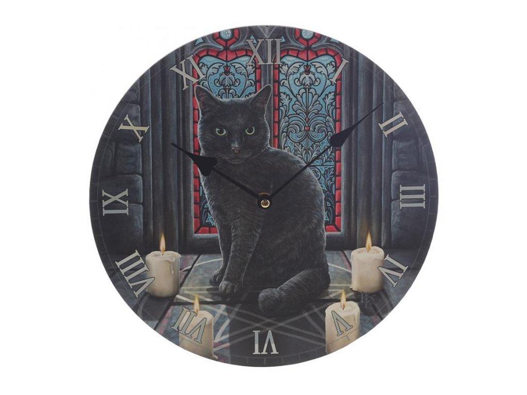 hodiny pentagram kočka