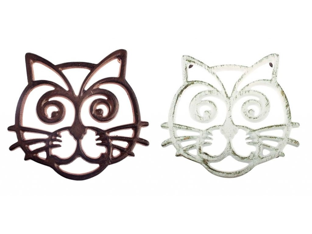 litinová podložka pod hrnec konvici kočka s kočkou kočičí hnědá
