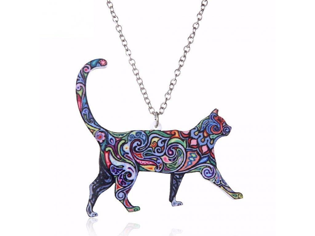 Náhrdelník barevná kočka