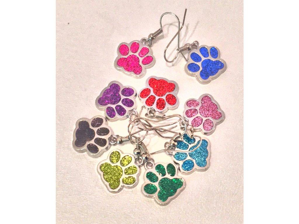 Náušnice barevné třpytivé kočičí tlapky