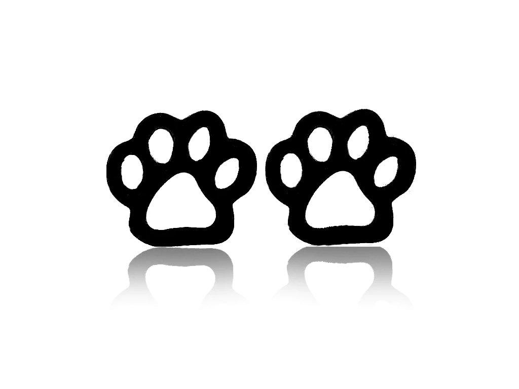 Náušnice kočičí tlapky V - ocelové černé