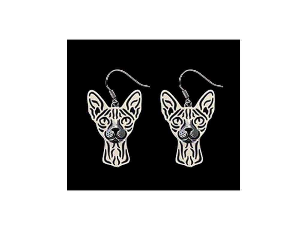 náušnice kočka sphynx