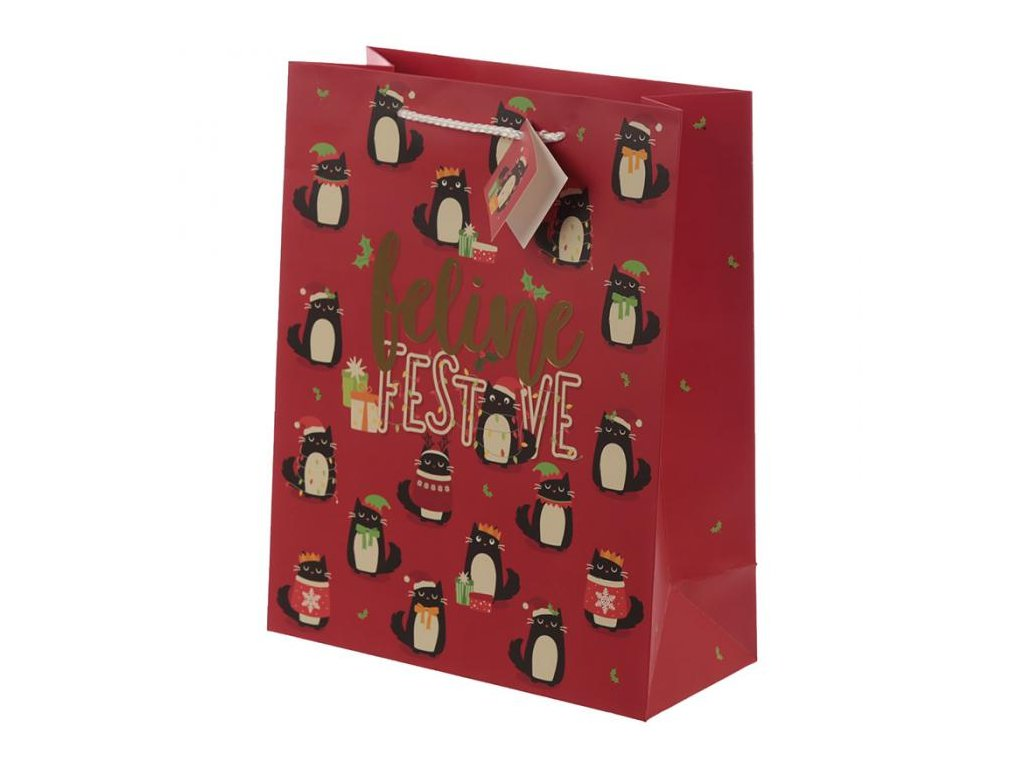 Vánoční dárková taška kočka - velikost L