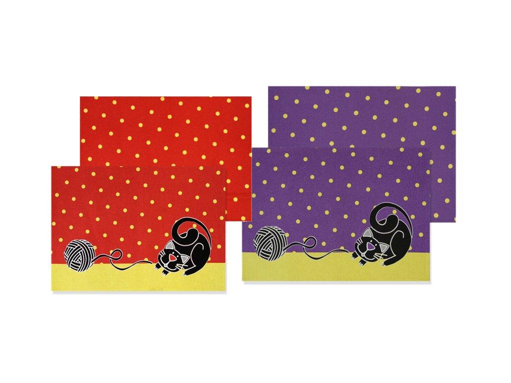 Veľké prestieranie s mačkou - červená, fialová (Barva červená)