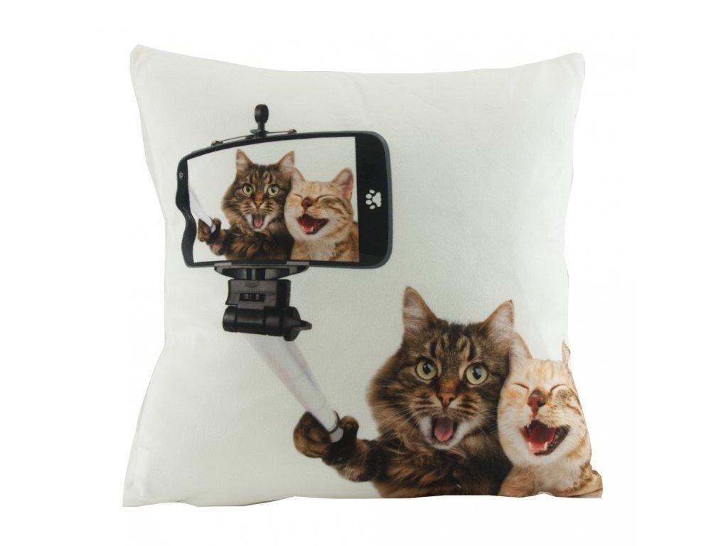 povlak na polštář mikroplyš kočka s kočkou kočičí selfie