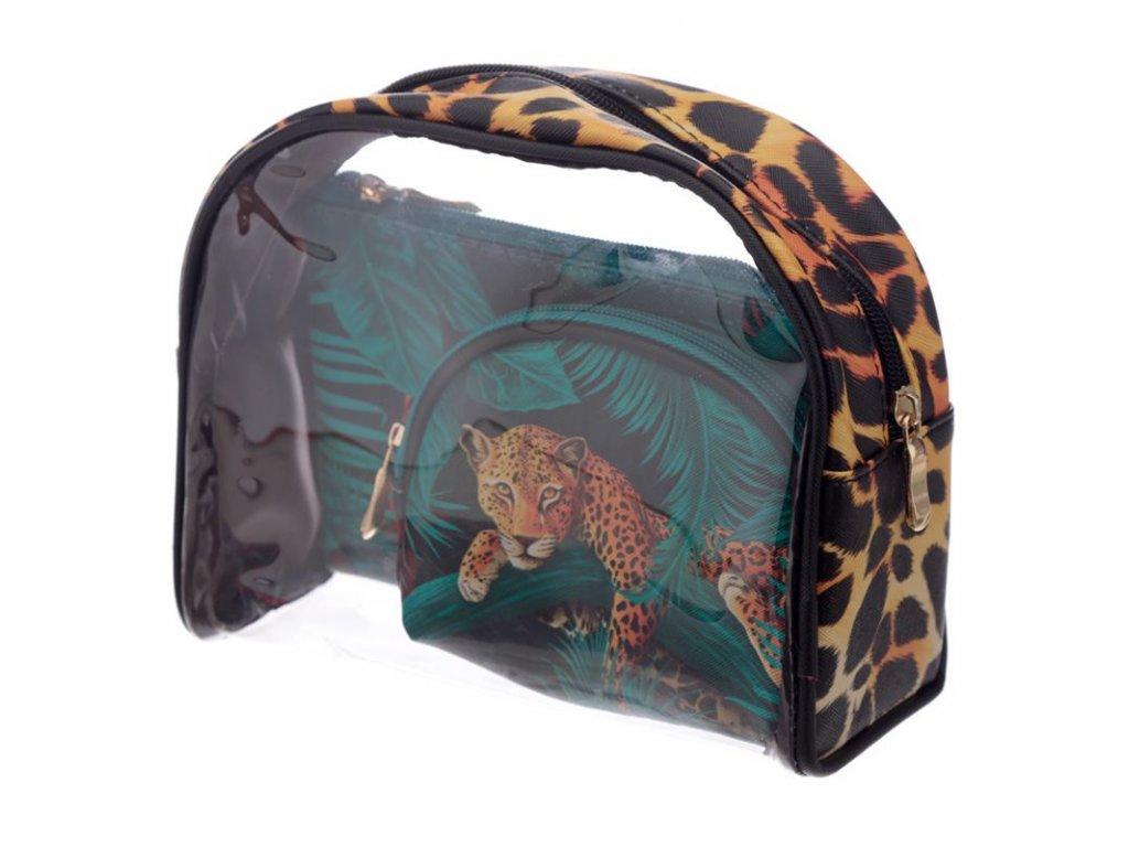 sada 3 toaletních kosmetických tašek kočka s kčokou mačka s mačkou tygr gepard