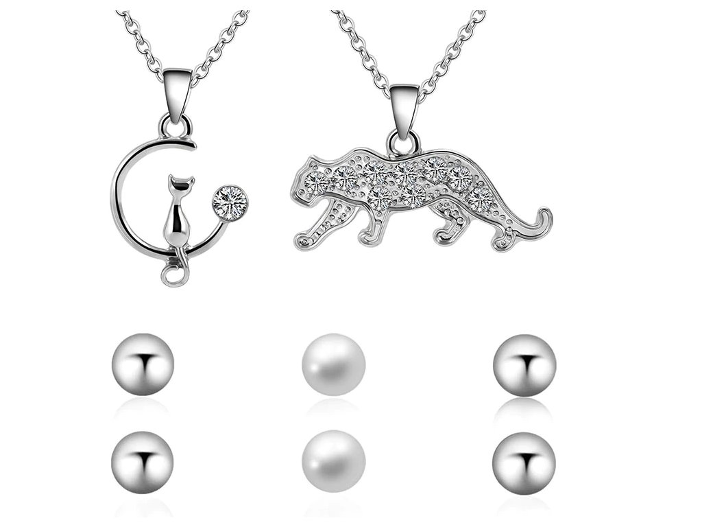 sada set náušnice náhrdelník kočka s kočkou kočičí