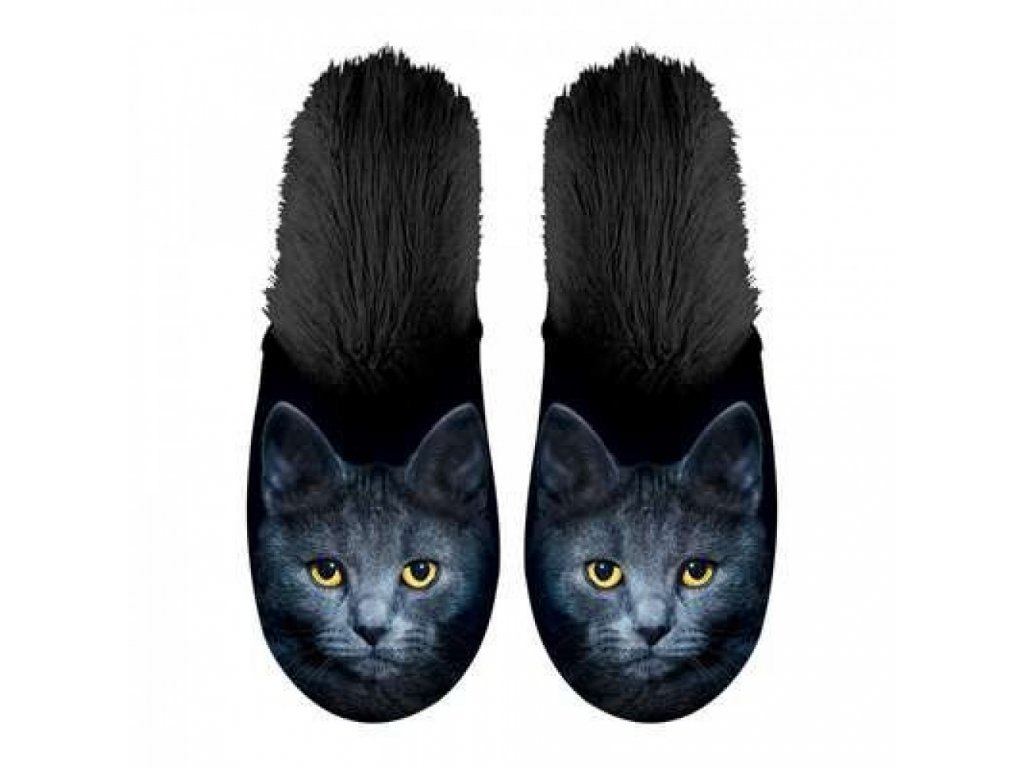 pantofle boty kočka s kočkou kočičí černé