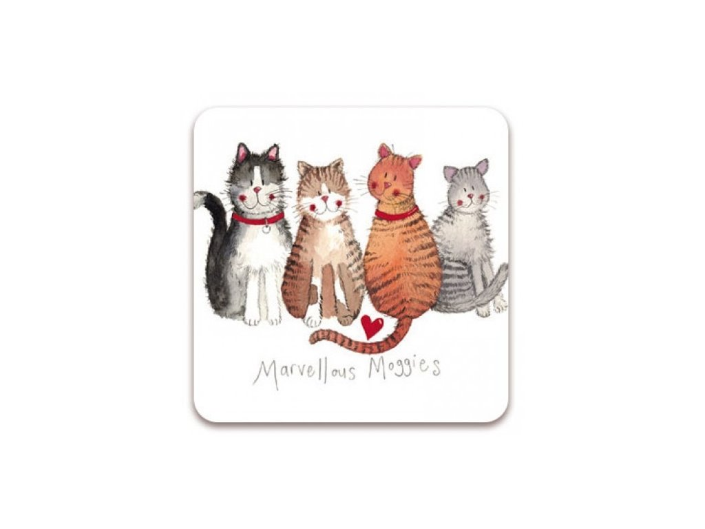 4 kočky podtácek kočka s kočkou kočičí alex clark