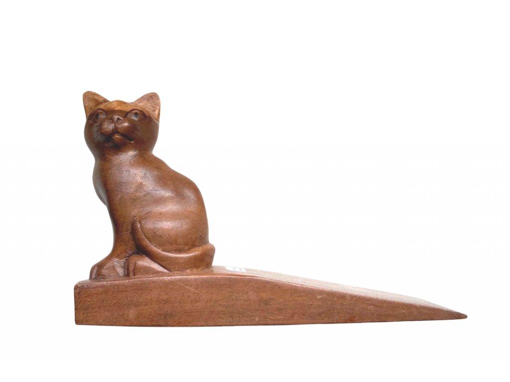 kočka zarážka klín na dveře s kočkou kočičí dřevěný