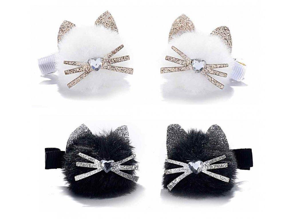 Dve sponky s mačičkou - čierna, biela (Barva bílá)