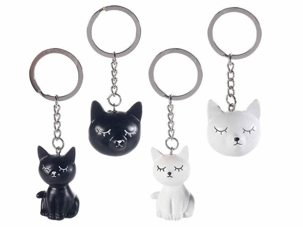 klíčenka kočka s kočkou kočičí spící černá bílá