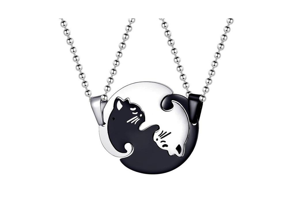 kočka s kočkou kočičí náhrdelník dvojitý pár jin jang 2