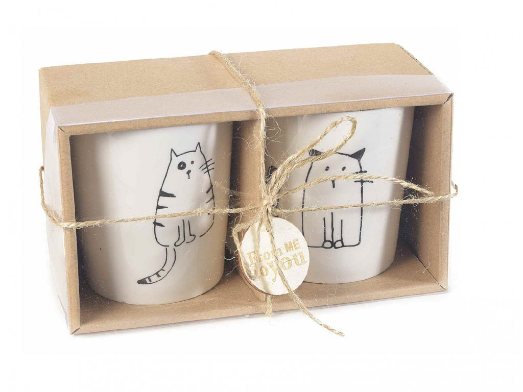 sada dvou hrnků šálku kočka s kočkou kočičí dárek dárkový 5