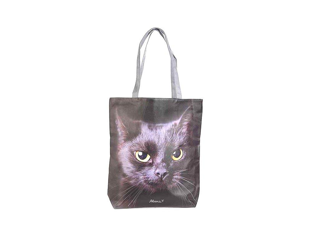 koženková velká kabelka kočka s kočkou kočičí černá 2