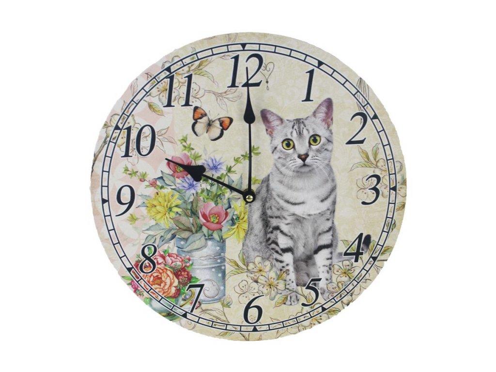 hodiny kočka s kočkou kočičí malované