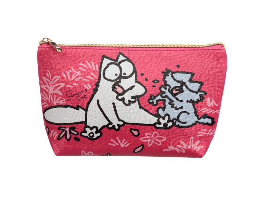 toaletní taška simons cat kočka s kočkou kočičí střední růžová)