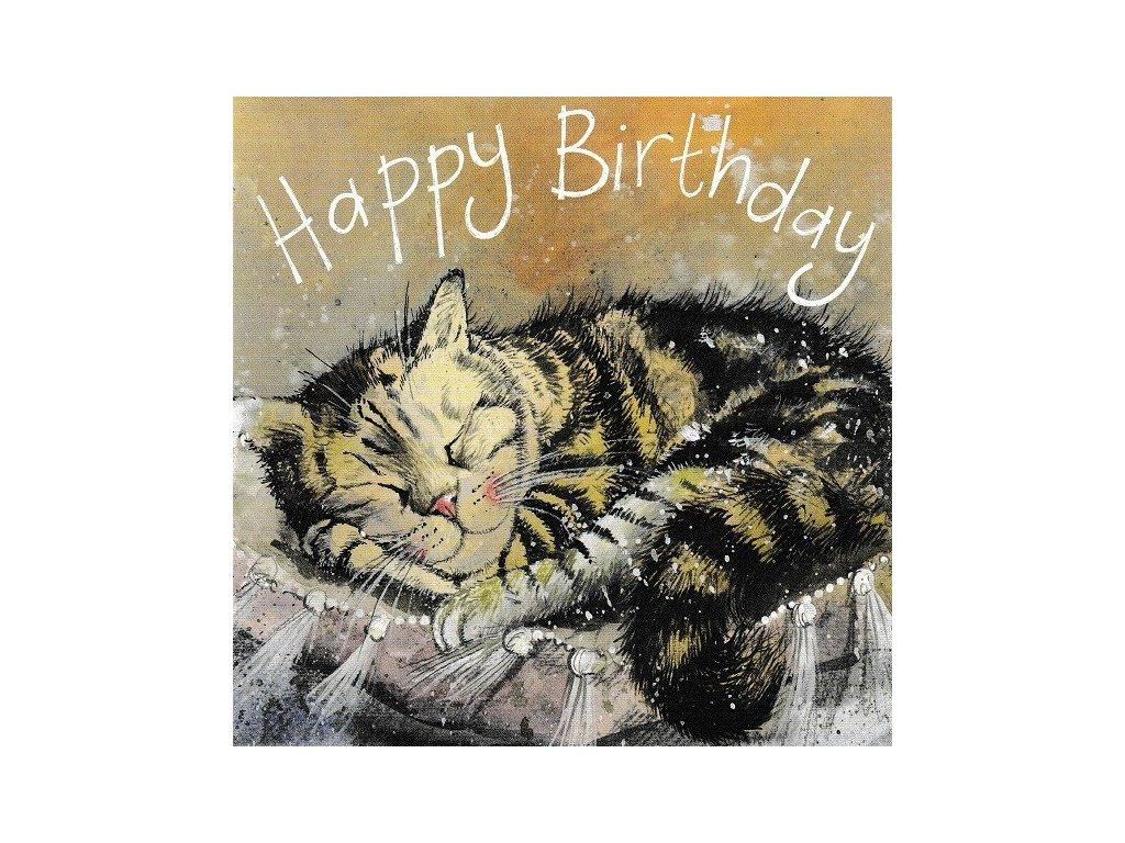 přání blahopřání kočka s kočkou kočičí spící alex clark