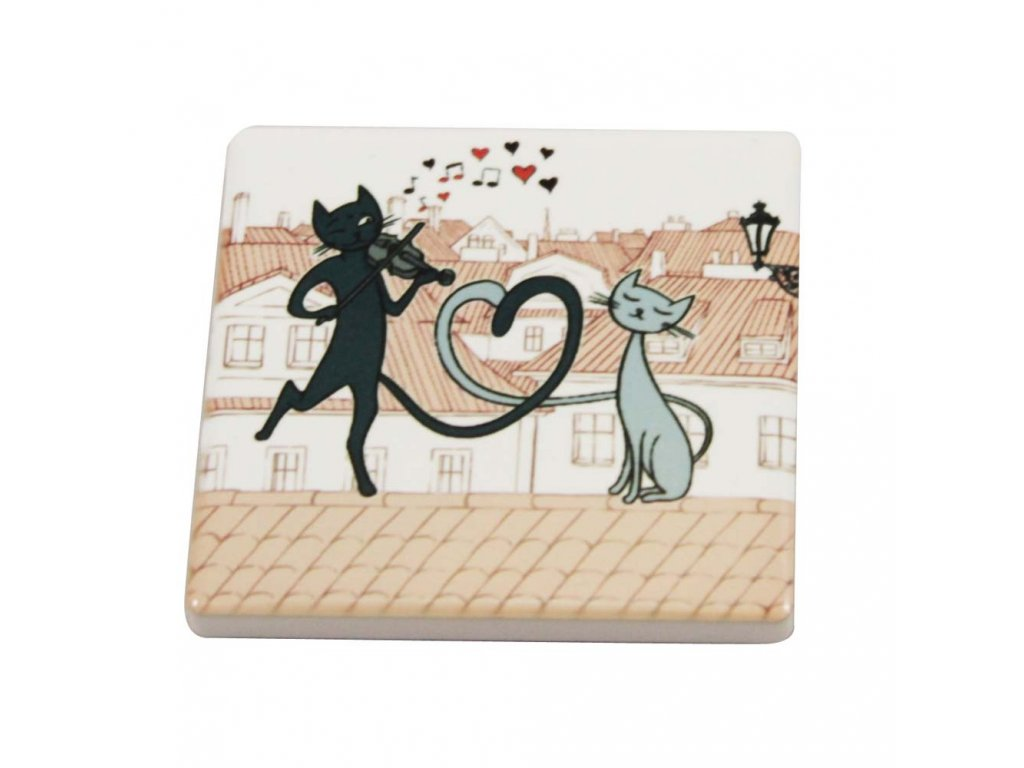 keramická magnetka kočka s kočkou kočičí