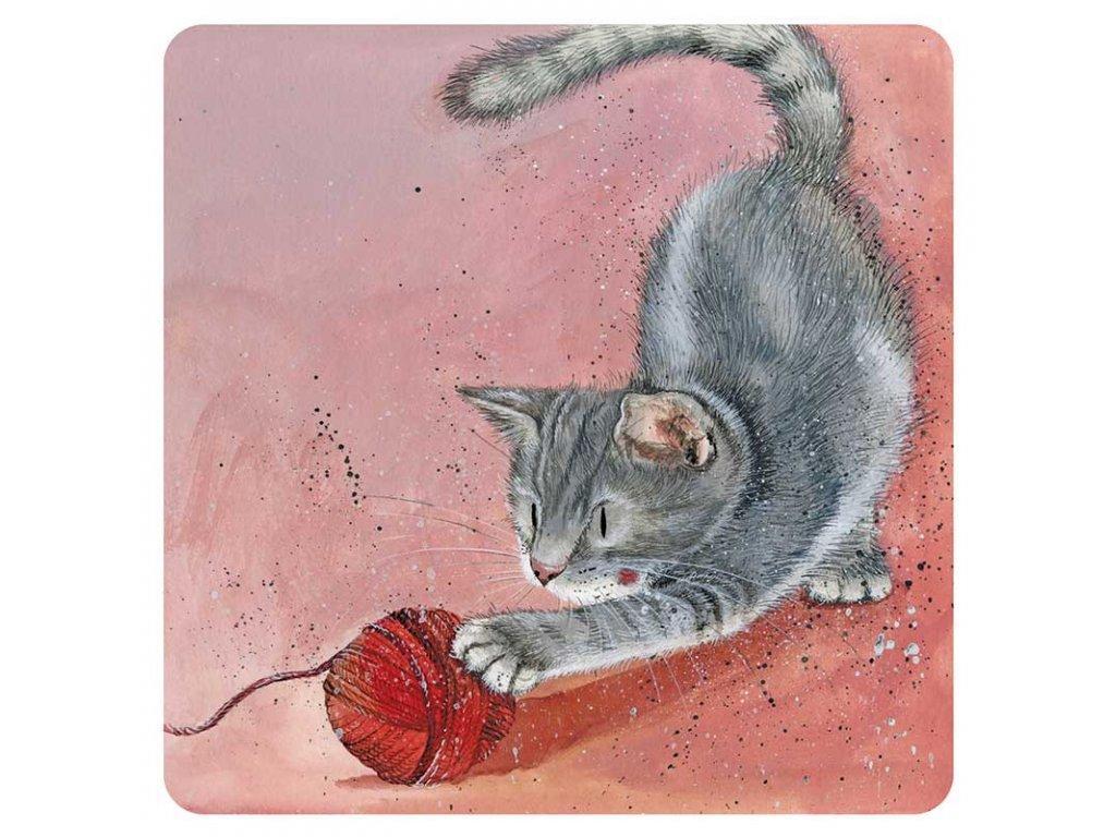 podtácek kočka s kočkou kočičí kotě klubíčko alex clark