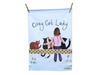 utěrka koška s kočkou kočičí crazy cat lady alex clark 3