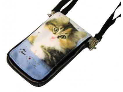 kabelka kočka s kočkou kočičí kotě na mobil modrá